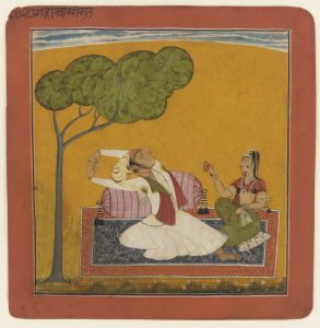 A watercolor and gold painting of Putra, son of Shri Raga, dating from 1690.