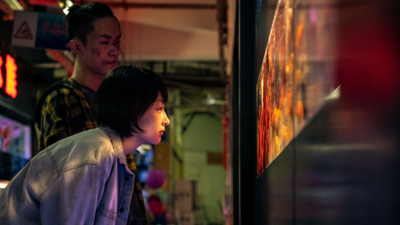 detail from a still from Better Days, a girl peering through a window which has a colorful reflection on it