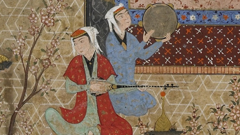 detail, Lawa'ih (Effulgences of light) by Jami (d.1492) , showing two figures playing instruments against an ornate background