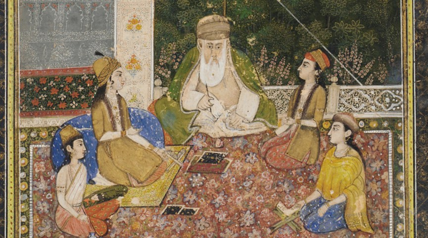 Painting of a teacher seated outside with his students.