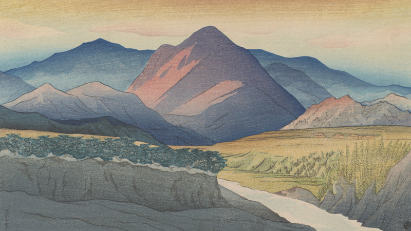 detail from a print, showing mountains against a sunset