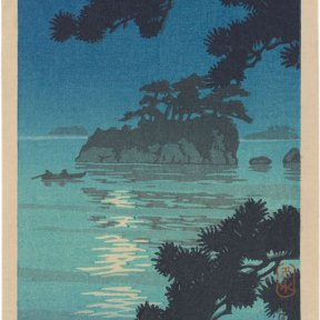 A view of Matsushima with the full moon high in the nigth sky, framed by pine branches in the foreground.