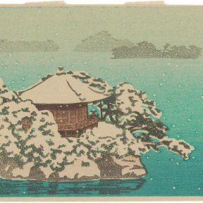 Dots of snow fall in front of turquoise water. The snow has gathered on treetops, and on the roof of Godaidō Temple.
