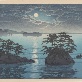 Clouds part in the night sky to reveal a full moon whose light is reflected on the water below. Two figures sit in a boat amidst two small rocky, tree-covered islands.