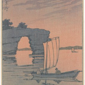 The sun sets, not visible behind Zaimoku Island, casting everything in shades of pink and purple. Two figures sit in a sailboat, watching the sunset.