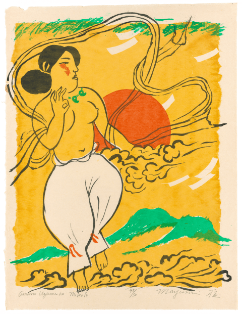 Ama no uzume no mikoto, rendered in brushwork against a golden sky, green mountains, and a red sun; drapery billows from around her bare arms and bosom as she floats amidst clouds