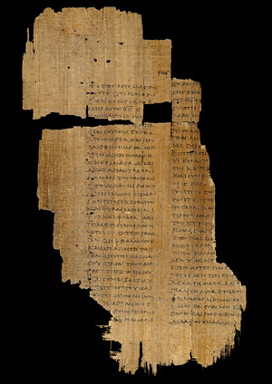 And ancient, almost shredded papyrus codex.