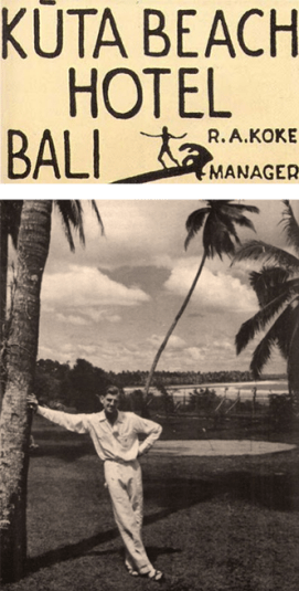 Top: Logo for Kuta Beach Hotel with a silhouette of a person surfing a wave. Bottom: Bob Koke on the front lawn of Kuta Beach Hotel leaning his arm against the trunk of a palm tree.