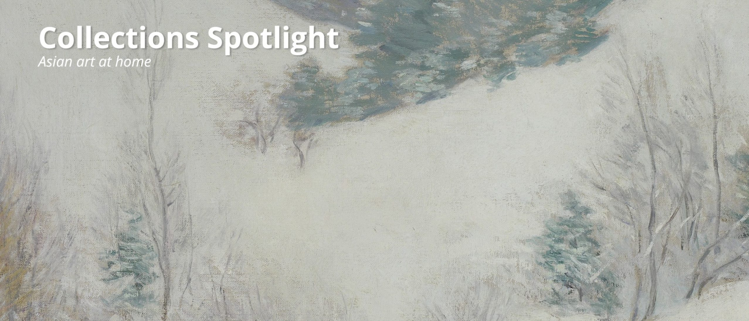 Collections spotlight: the white pasture. Detail of a painting, showing trees done in gestural strokes against a white background