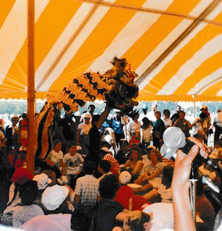 Lion dance in a crowd as viewed from a stage