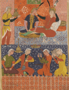 Detail of a Persian painting depicting a quartet entertaining a king and princess.