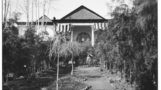 Ernst Herzfeld with his dog, Flohberger, in the Rear Courtyard of his House