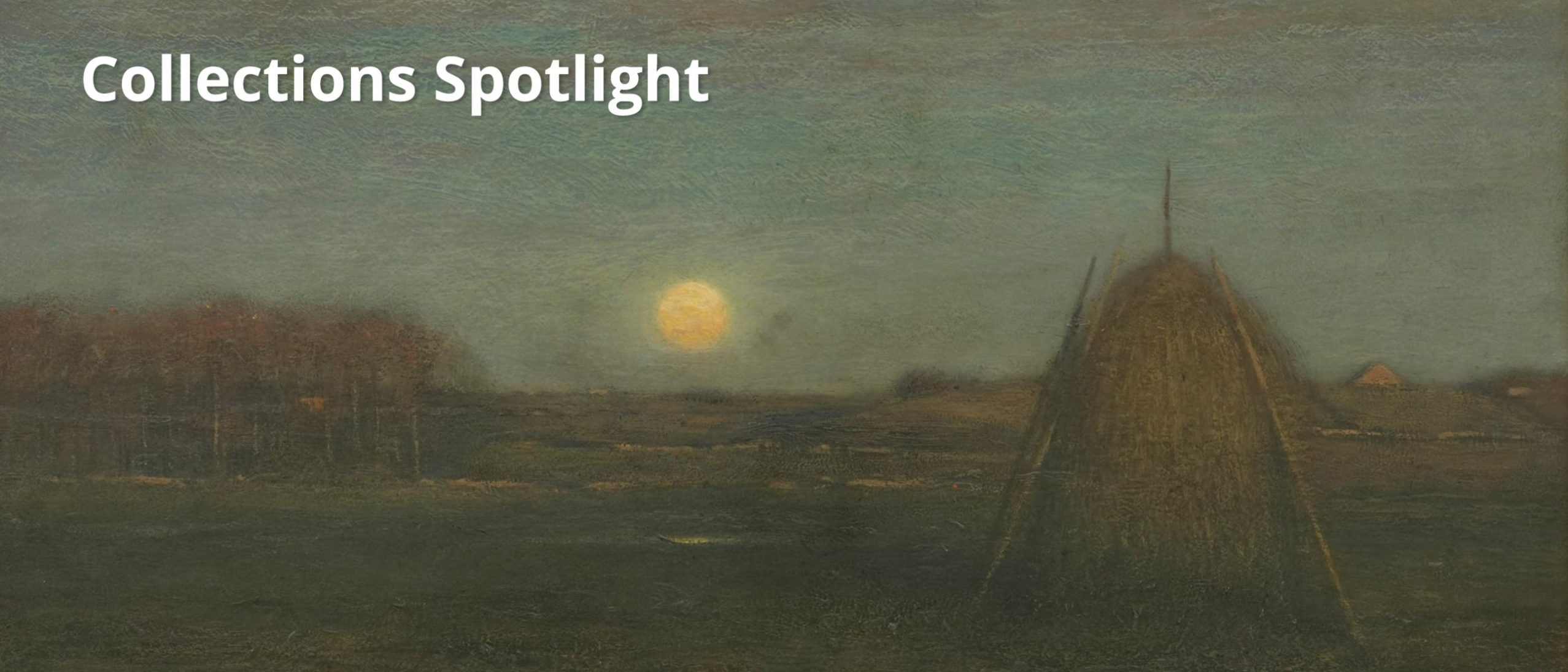 Collections Spotlight: The rising moon: Autumn showing a hazy night sky over haystacks in a field