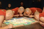 Monks working on the mandala at the Sackler gallery.