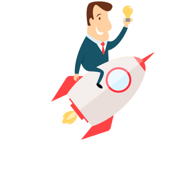 Cartoon Man on Rocket