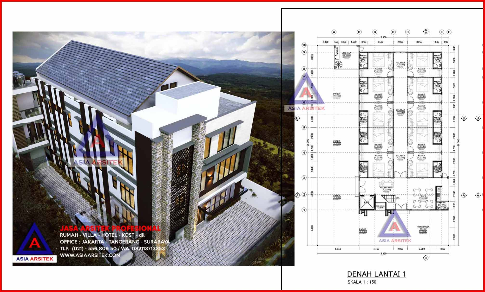 Desain Kost 4 Lantai 34 Kamar Bp Pigo Jakarta Selatan Jasa Arsitek Kost