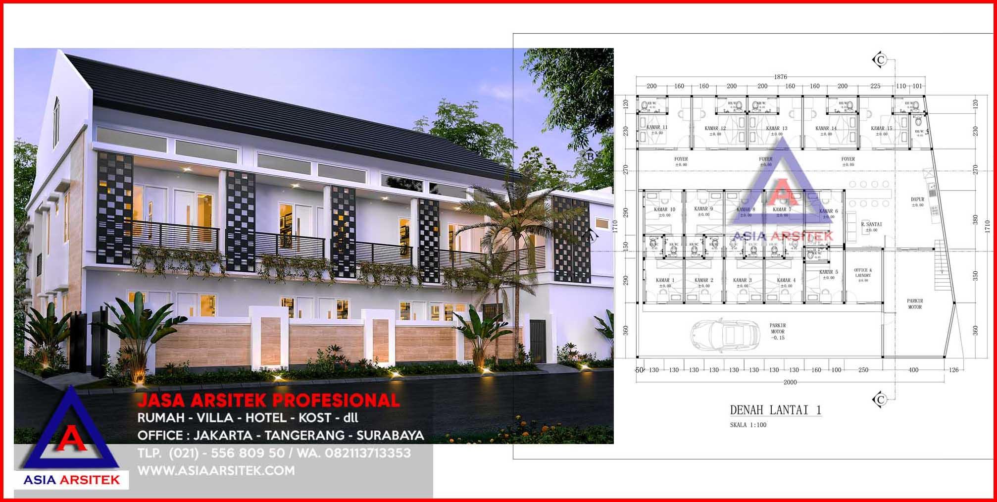 Jasa Arsitek Desain Bangun Rumah Kost 2 Lantai Di Depok Murah