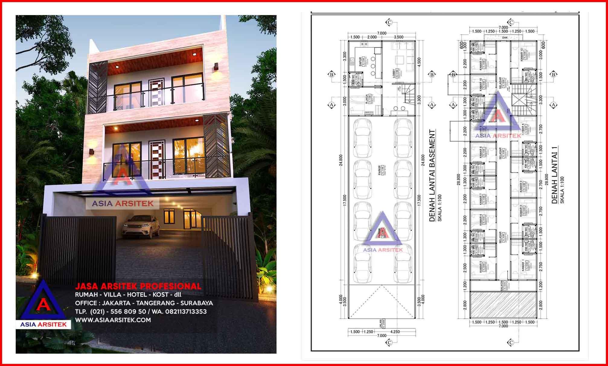Jasa Arsitek Desain Kontraktor Rumah Kost 3 Lantai 26 Kamar