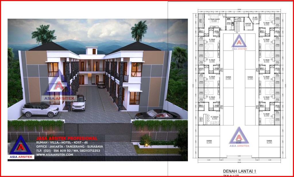 Jasa Desain Arsitek Bangun Rumah Kost 2 Lantai Minimalis Cirebon Jawa Barat
