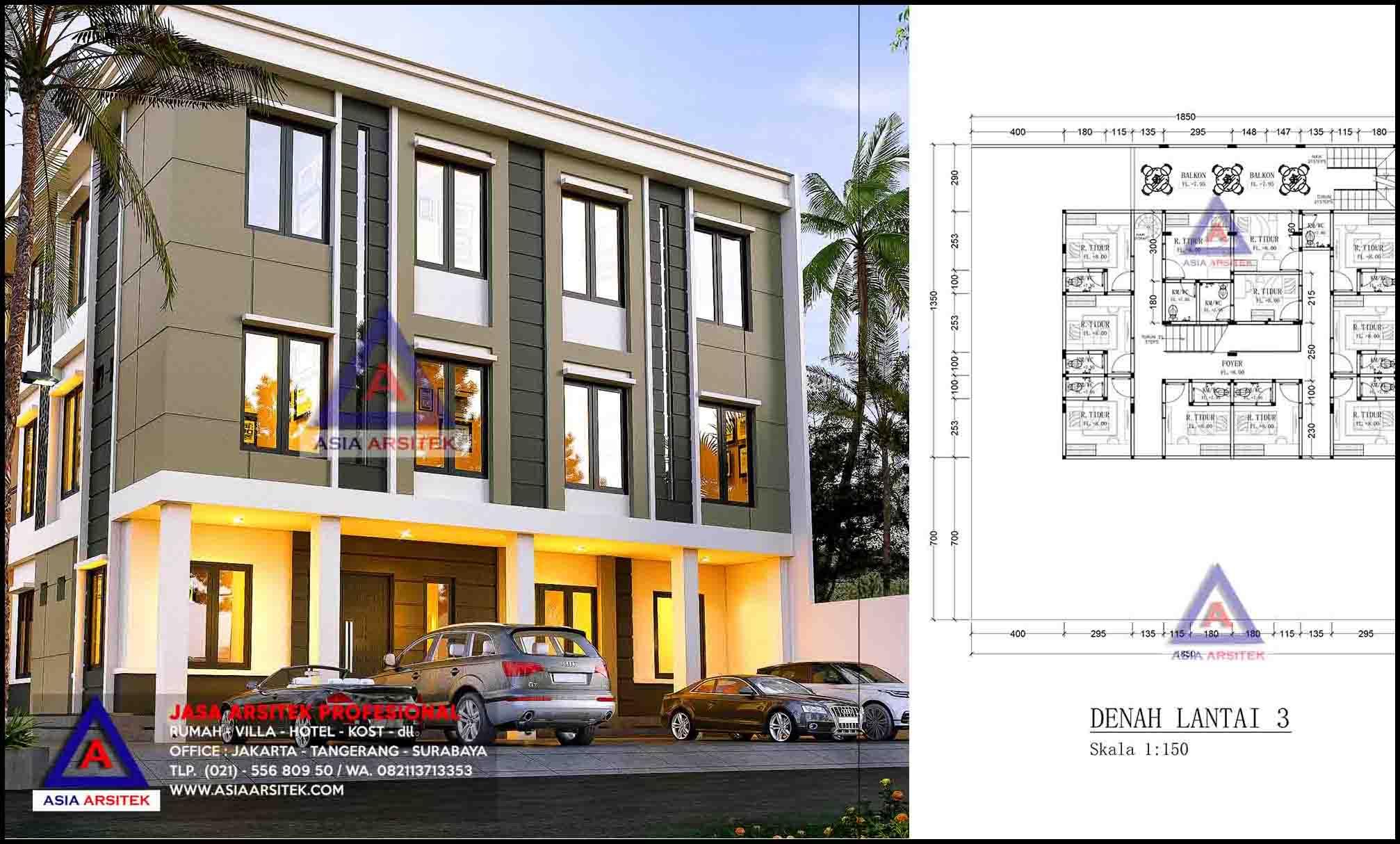 Jasa Gambar Desain Arsitek Rumah Kost 3 Lantai Bu Lucky