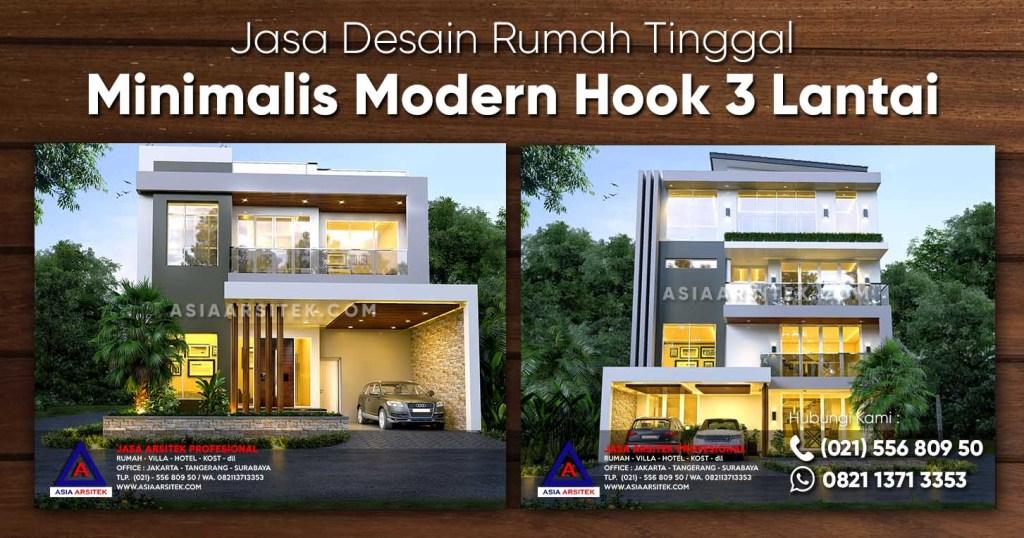 Jasa Desain Rumah Minimalis Modern Hook 3 Lantai Di Lippo Karawaci Tangerang