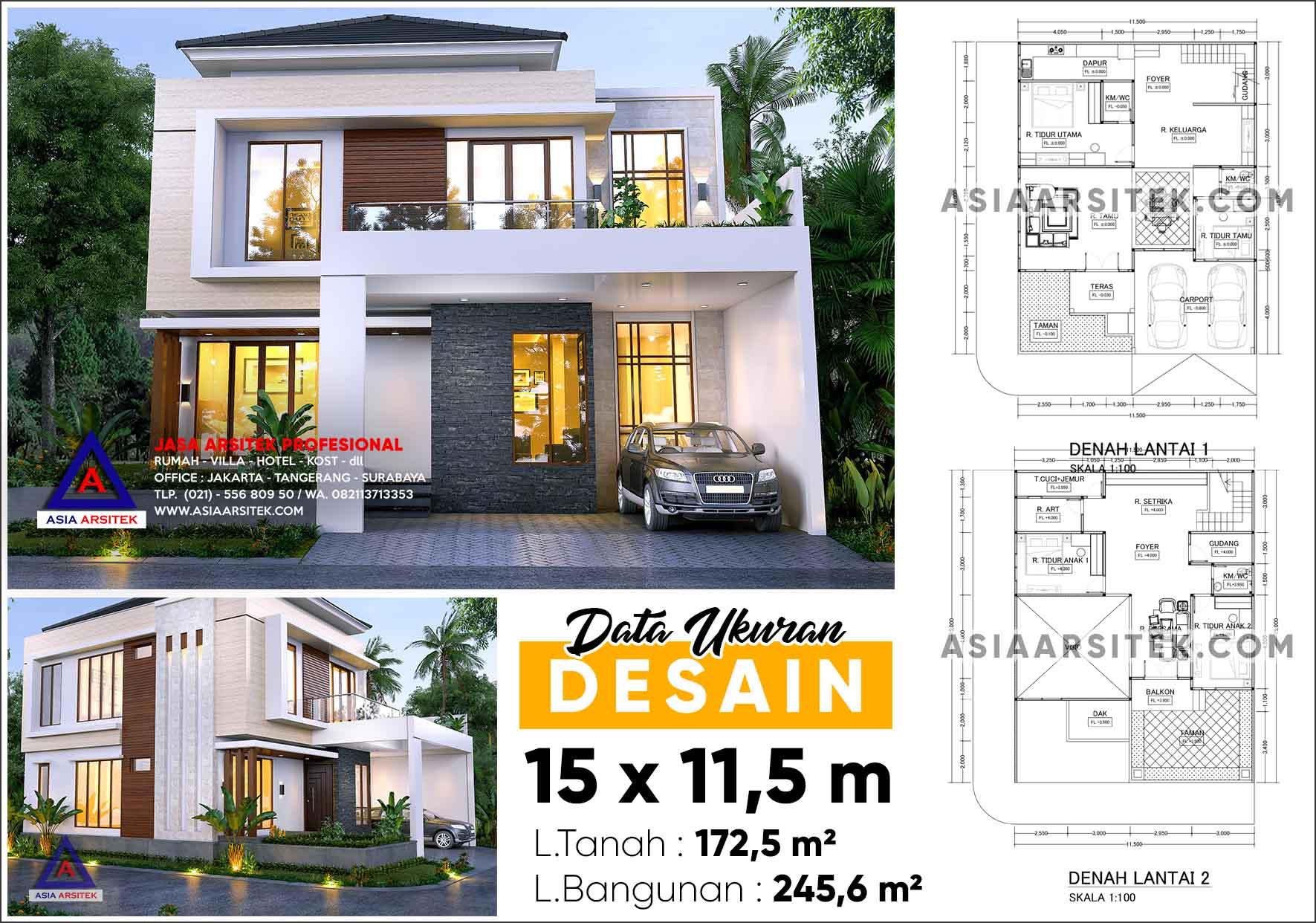 Jasa Desain Rumah Tinggal 2 Lantai Minimalis Modern Tangerang Selatan