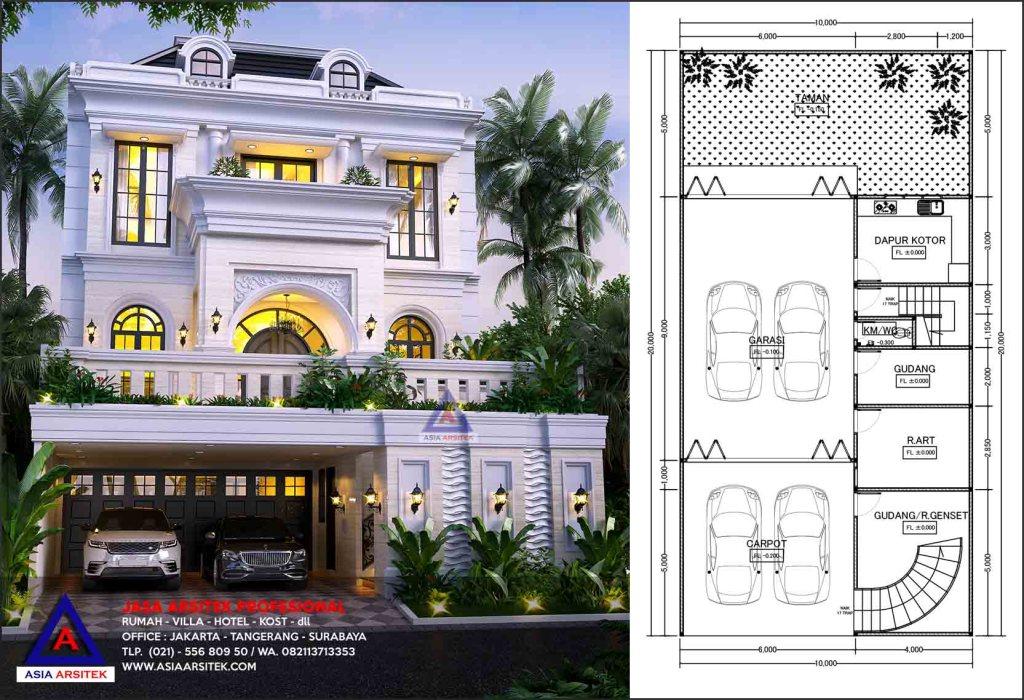 Jasa Arsitek Desain Rumah Mewah Tropis Modern 3 Lantai Jakarta Barat