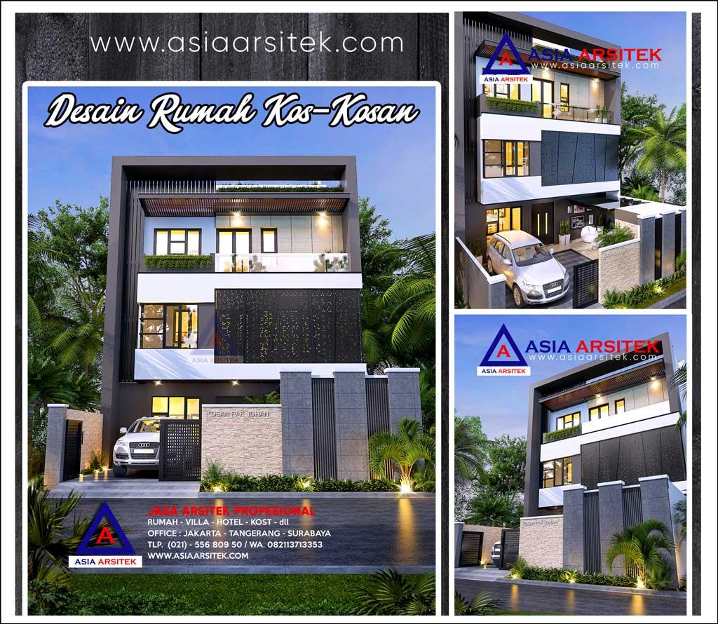 Desain Rumah Kos 4 Lantai Ukuran Tanah 29,5 x 9,8 Meter