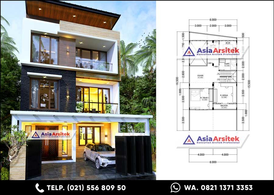 Desain Rumah Minimalis Modern 3 Lantai 5 Kamar Tidur Carport 1 Mobil di Lahan 8 x 16,5 meter Tahun 2021
