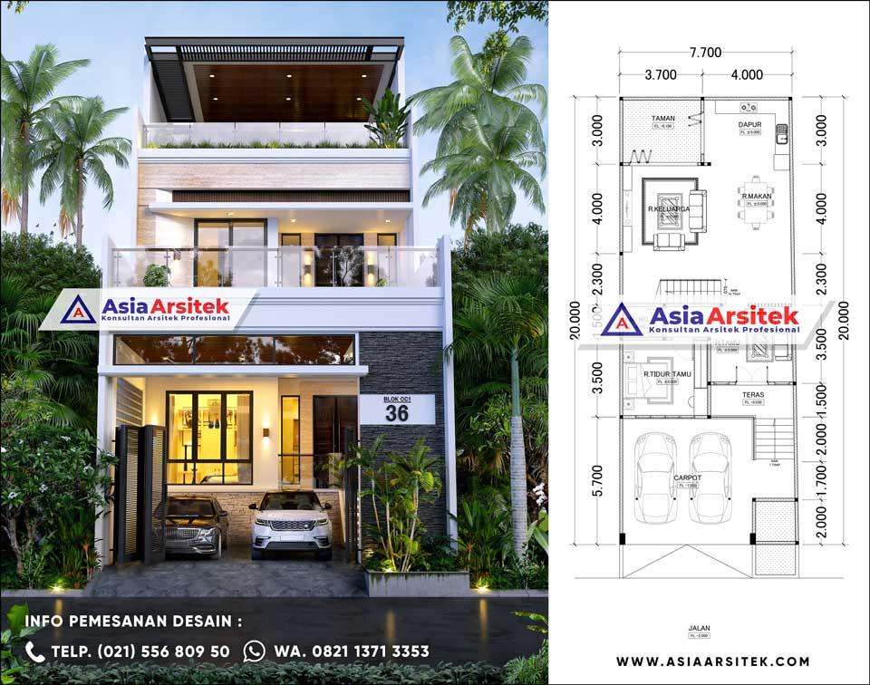 Desain Rumah 3 Lantai Minimalis Modern Fasilitas Carport 2 Mobil 3 Kamar Tidur di Lahan 7x20 meter