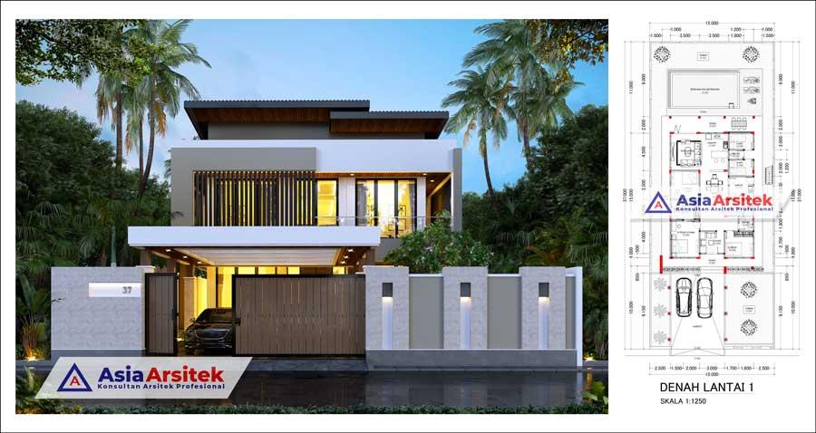 Desain Rumah Mewah 2 Lantai Modern Minimalis 7 Kamar Dengan Kolam Renang di Lahan 15 x 37 Meter