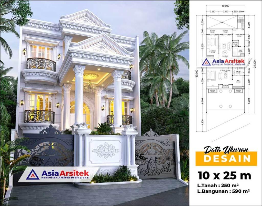Jasa Arsitek Desain Rumah Klasik Mewah 3 Lantai Di Tarakan Kalimantan Utara
