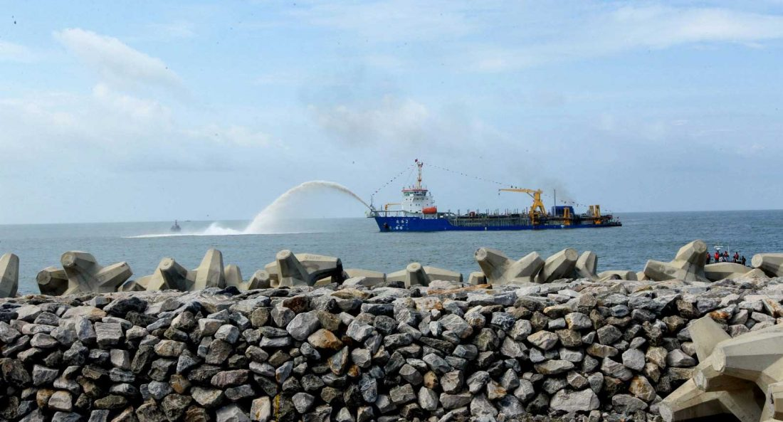 "Marine sand is pumped by a ship at the commencement of ""Colombo Port City"" backed by China in Sri Lanka. Increasing attention is being paid to the social and environmental impacts of China's investments abroad."