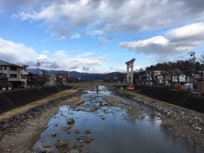 River that runs through town with Torii gates