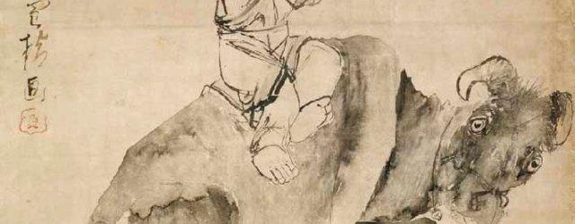 Oxherd Playing a Flute by Nagasawa Tosetsu, Edo period, 18th century, Kyushoin, Kyoto