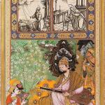 Sultan Ibrahim Adil Shah II Playing the Tambur, ascribed to Farrukh Beg, in an inscription written by Muhammad Husain Zarin Qalam Bijapur, circa 1595-1600 (painting), Agra, AH 1019 (1610–11), ink, opaque watercolour, and gold on paper, Folio: 16 42.3x. 26.5 cm, Náprstkovo Muzeum, Prague