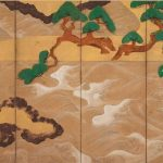 Left Screen: Waves at Matsushima by Tawaraya Sotatsu (active circa 1600-40), Japan, Edo period, early 1600s, pair of six-panel folding screens, ink, colour, gold, and silver on paper, 166 x 369.9 cm (each, overall). Gift of Charles Lang Freer, Freer Gallery of Art