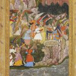 Babur's raft capsizes on the river in Panjshir province, folio from the first illustrated Babarnama by Kamal Kashmiri, opaque colour and gold on paper, 25.2 x 14.2 cm, middle of Akbar's reign, circa 1590, Museum Rietberg, Gift of Balthasar and Nanni Reinhard. Photo: Rainer Wolfsberger