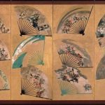 Left Screen: Painted Fans Mounted in a Screen by Tawaraya Sotatsu and Toshichiro, Japan, Edo period, early 1600s, pair of eight-panel folding screens, ink, colours, and gold on paper, 111.5 x 376 cm (each, image), 124 x 400 cm (each, overall), Sannomaru Shozokan, Museum of the Imperial Collections, Tokyo
