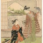 Lucky Dream for the New Year: Mt. Fuji, Falcon, and Eggplants, by Suzuki Harunobu (Japan, circa 1765–1770), circa 1768–1769, colour woodblock print, sheet 28.58 x 21.59 cm. Promised gift of Barbara S. Bowman