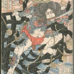 Zhang Shun, the White Streak in the Waves by Utagawa Kuniyoshi (Japan, 1797-1861), circa 1827-1830, colour woodblock print, sheet 28.74 x 26.51 cm. Promised Gift of Barbara S. Bowman