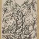 Combined Album of Painting and Calligraphy by Bada Shanren (Zhu Da), Qing dynasty, circa 1693 and 1696, album (9 leaves), ink on paper, 25.4 x 17.1 cm