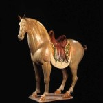 Pottery horse with sancai glaze, Tang dynasty (618-906), length 75cm. Donated by Dr T T Tsui, Tsui Art Foundation Ltd. Courtesy of the University Museum and Art Gallery