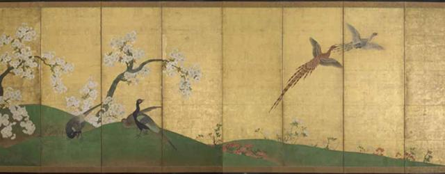 One of a pair of screens, Pheasants and Cherry Trees, first quarter 17th century, Momoyama period, ink, colour, and gold on paper, 165 x 63.4 cm, Japan. Courtesy of the Freer Gallery of Art