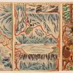 Lieutenant Colonel Fukushima's Expedition Alone on Horseback (1893) by Utagawa Kunimasa IV (1848-1920, Japan), miniature three-sheet cut-out diorama (kumiage), colour woodblock prints, framed: 26 1/8 × 41 1/8 inches, Saint Louis Art Museum