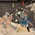 Actors Ichikawa Danjûrô VIII as the Ghost of Seigen (Seigen Onryô), Arashi Rikan III as the Servant (Yakko) Yodohei (R), and Iwai Kumesbarô III as Sakura-hime (L), 1852, by Utagawa Kunisada (1786-1865), woodblock print, Allen Memorial Museum, from the collection of Brondy Shanker