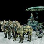 Chariot Model (modern replica after Qin originals), Qin dynasty (221-206 BC), bronze with pigments, height 150 cm. Photo: Courtesy Qin Shihuangdi Mausoleum Site Museum, Lintong