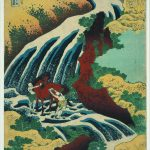 The waterfall where Yoshitsune washed his horse in Yoshino, Yamato province from Tour of Waterfalls in Various Provinces, colour woodblock, 1833. Bequeathed by Charles Shannon RA. © The Trustees of the British Museum. On display from 7 July to 13 August