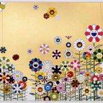 Kawaii vacances (Summer Vacation in the Kingdom of the Golden) by Takashi Murakami (Japanese, born in 1962), Japanese, Heisei, 2008, acrylic and gold leaf on canvas mounted on aluminum frame, 3000 x 9000 x 50.8 mm (6 panels). Courtesy Perrotin © 2008 Takashi Murakami/Kaikai Kiki Co., Ltd. All Rights Reserved. Courtesy, Museum of Fine Arts, Boston
