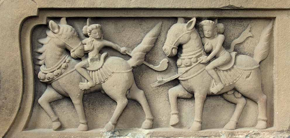 Stone sculpture of polo players from Tra Kieu, the first capital of the Champa kingdom, 4th to 8th century. Photo: Denise Heywood